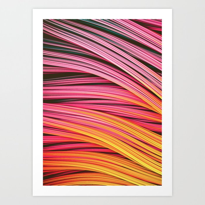 Pink & Heat Strands. Abstract Design Art Print by lovefi