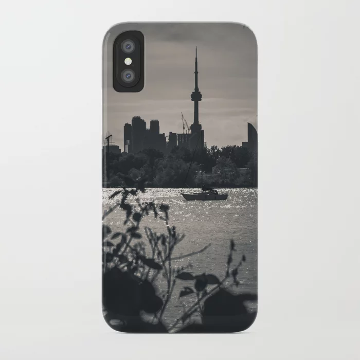 A View From The Water. Toronto CN Tower, Cityscape Photograph iPhone Case by lovefi