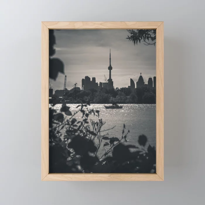 A View From The Water. Toronto CN Tower, Cityscape Photograph Framed Mini Art Print by lovefi