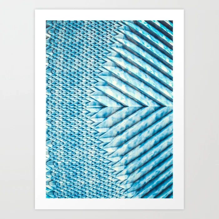 Blue Marble Sun Shards. 3D Chevron Design Art Print by lovefi