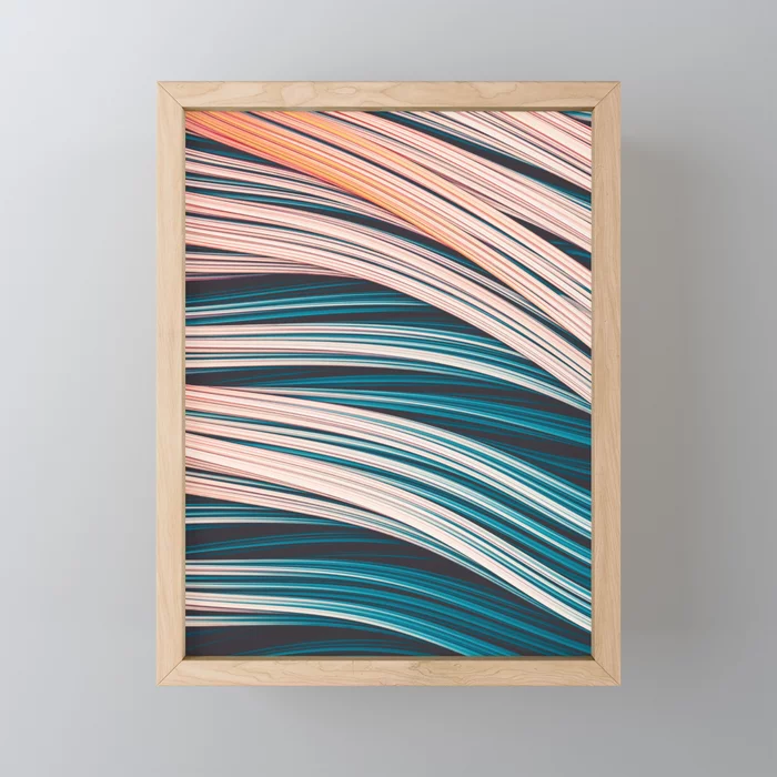 Vintage White and Blue Abstract Strands Framed Mini Art Print by lovefi