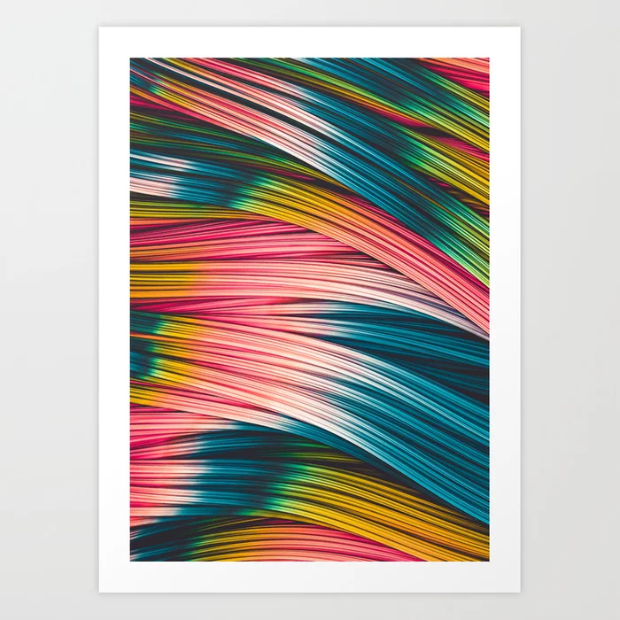 Bubble Gum Strand. Abstract Strands Design Art Print by lovefi