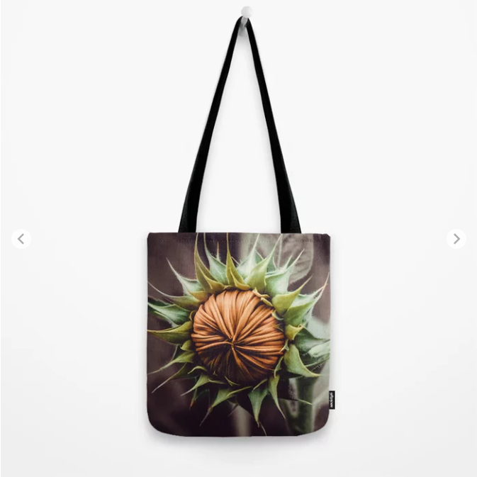 Sunflower Bud Photograph Tote Bag by lovefi