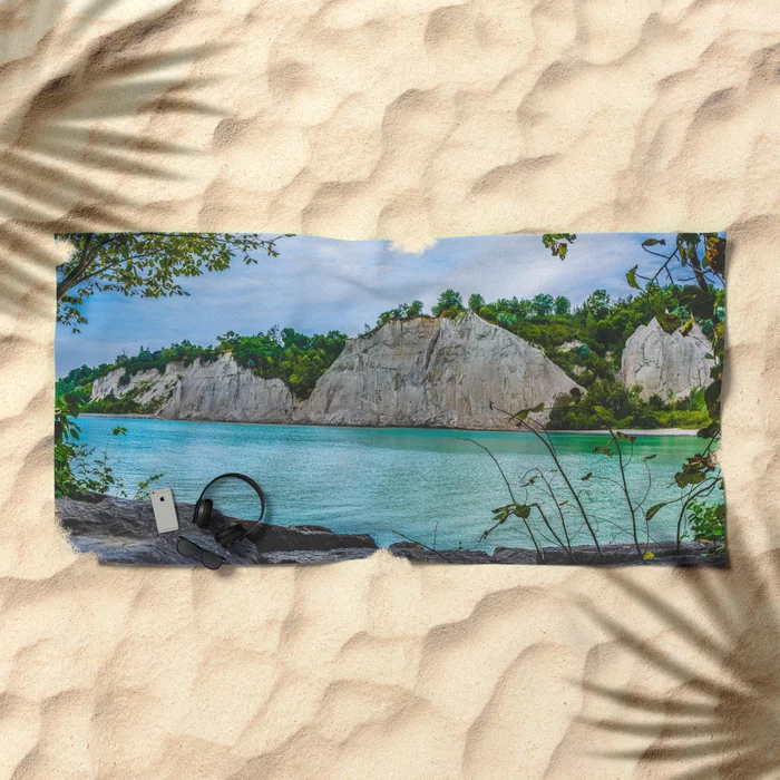 Scarborough Bluffs Landscape Panoramic Photograph IV Beach Towel by lovefi