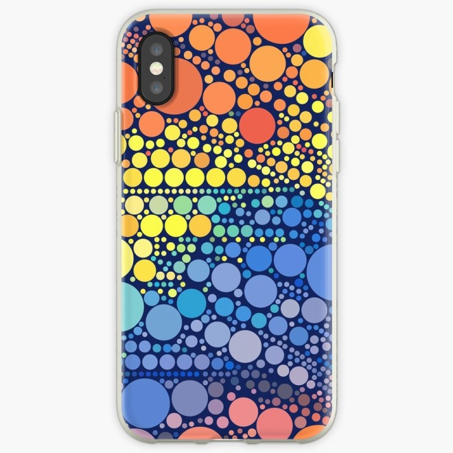 Sun Wave Multicolor Circles Pattern iPhone Case by PatternsSoup