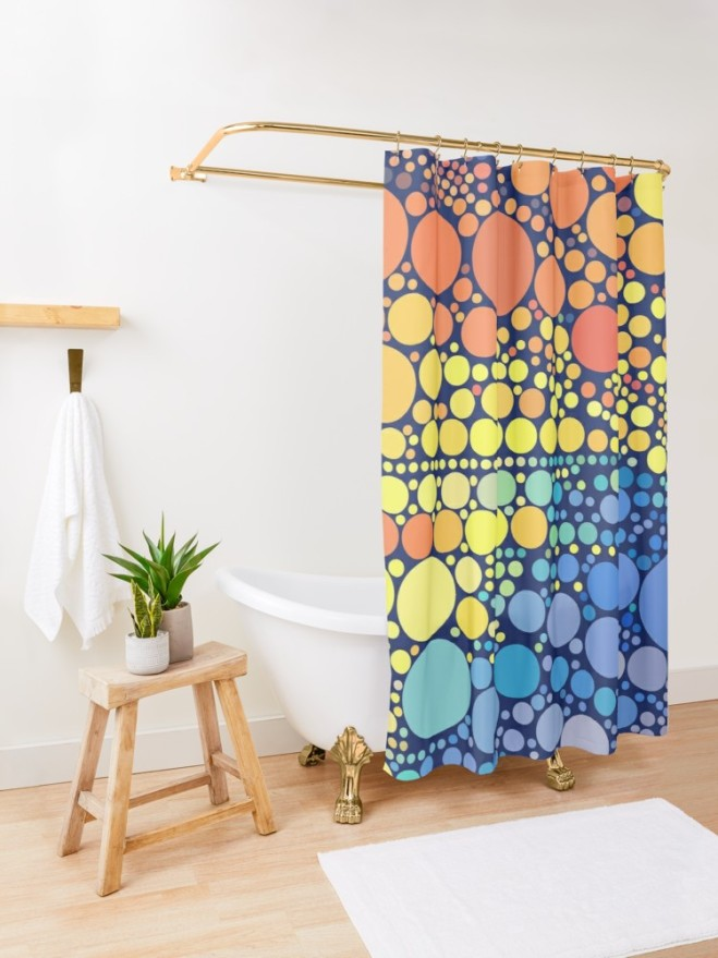 Sun Wave Multicolor Circles Pattern Shower Curtain by PatternsSoup