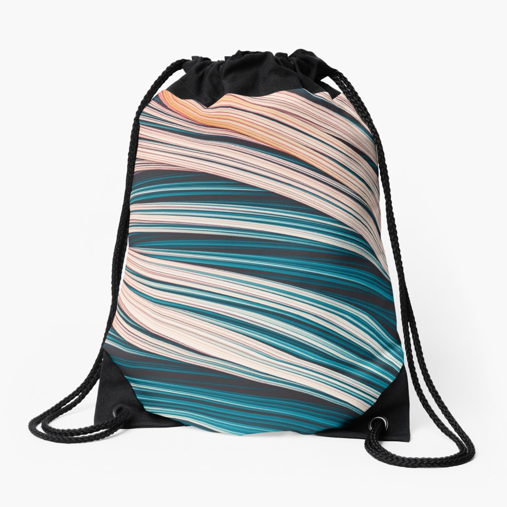 Vintage White and Blue Abstract Strands Draw String Bag On Redbubble By Love-fi