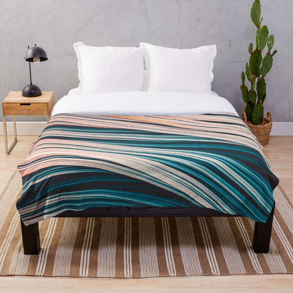 Vintage White and Blue Abstract Strands Throw Blanket On Redbubble By Love-fi