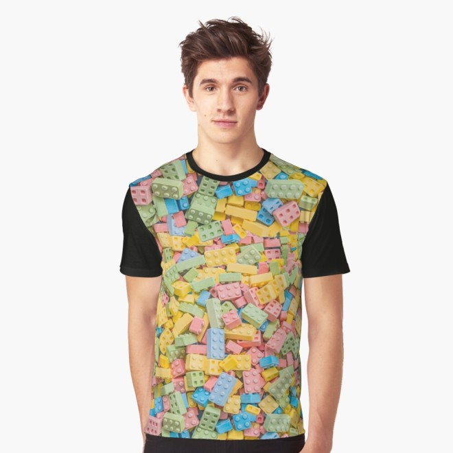 Candy Building Blocks, Multicolored Pastel Pattern Graphic Tee by Patterns Soup