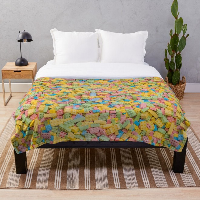 Candy Building Blocks, Multicolored Pastel Pattern Throw Blanket by Patterns Soup