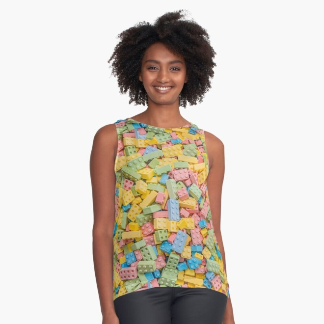 Candy Building Blocks, Multicolored Pastel Pattern Sleeveless Top by Patterns Soup