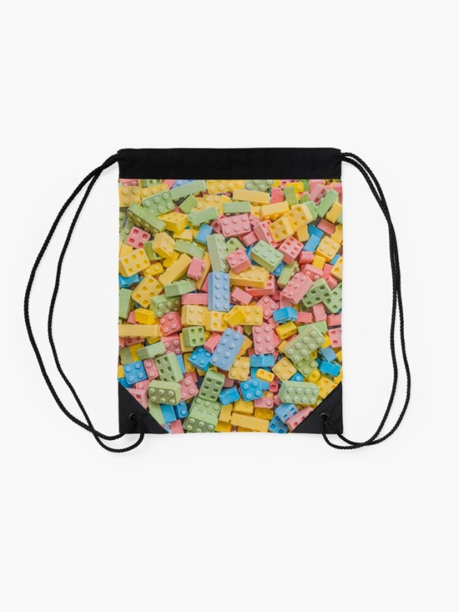 Candy Building Blocks, Multicolored Pastel Pattern String Bag by Patterns Soup