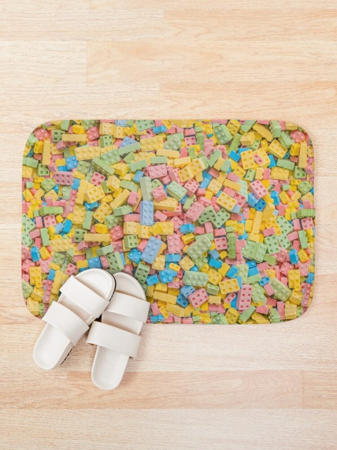 Candy Building Blocks, Multicolored Pastel Pattern Bath Mat by Patterns Soup