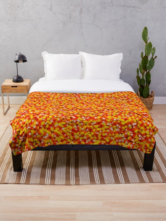 Candy Corn Halloween Candy Photo Throw Blanket by Patterns Soup