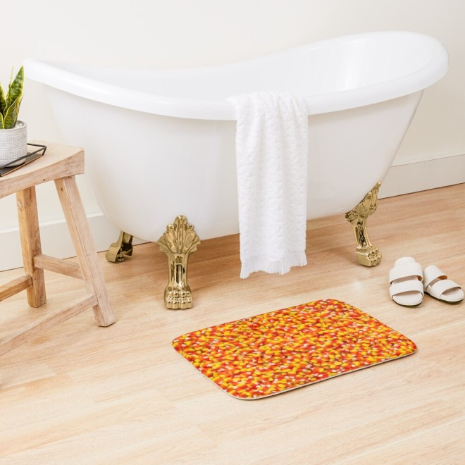 Candy Corn Halloween Candy Photo Bath Mat by Patterns Soup