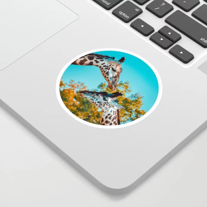 Gentle Giraffes Photograph Sticker by lovefi