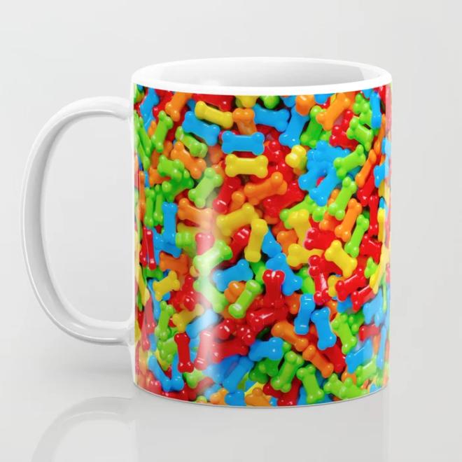 Dog Bones Multicolored Candy Pattern Coffee Mug by PatternsSoup