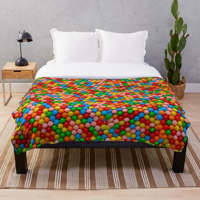 Mini Gumball Candy Photo Pattern Throw Blanket by Patterns Soup