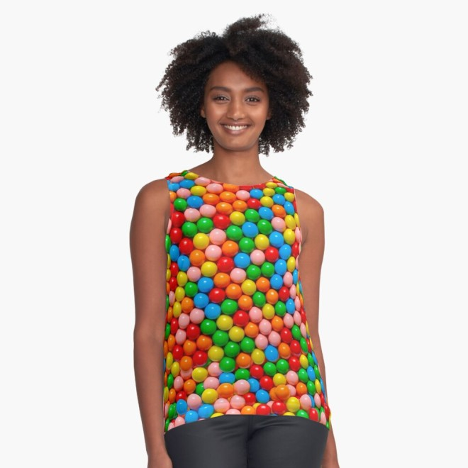 Mini Gumball Candy Photo Pattern Sleeveless Top by Patterns Soup