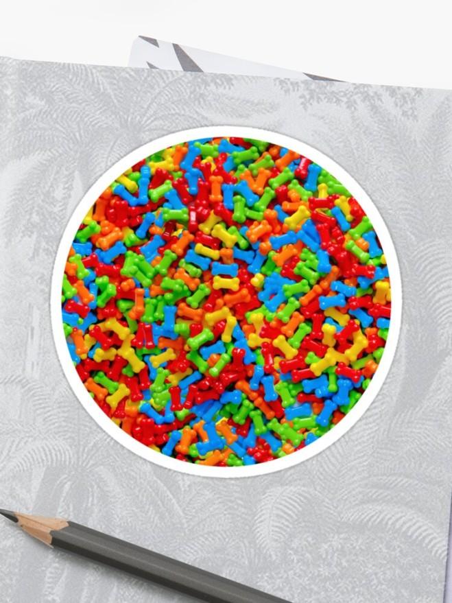 Candy Dog Bones Photo Pattern Sticker  by Patterns Soup