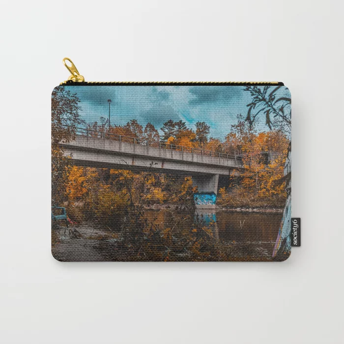 Autumn Bridge Photograph Carry-All Pouch by lovefi