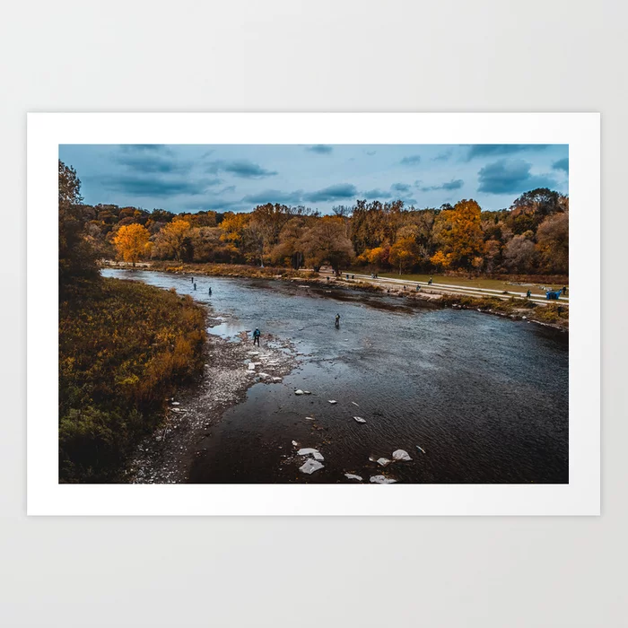 Shallow River Landscape Photograph Art Print by lovefi