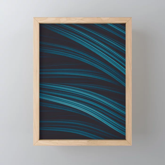 Night Strand. Dark Blue Strands Framed Mini Art Print by lovefi