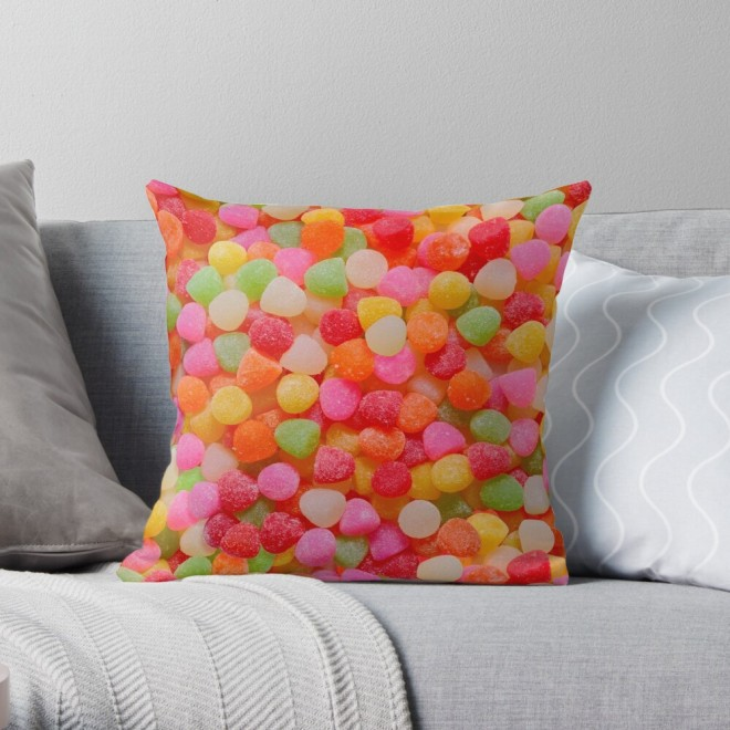 Gumdrop Candy Photo Pattern Throw Pillow by Patterns Soup