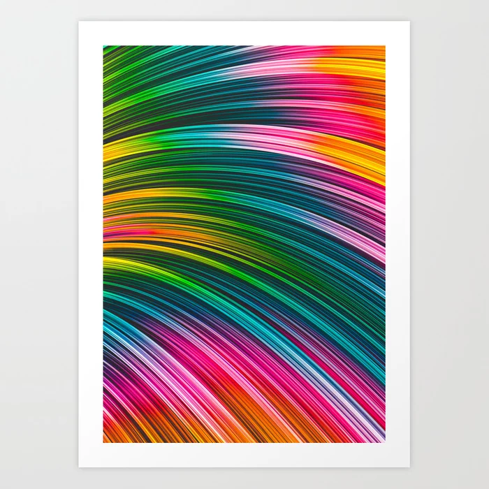 Color Prism Burst Wave. Abstract Strands. Art Print By Love-fi, Stephen Geisel