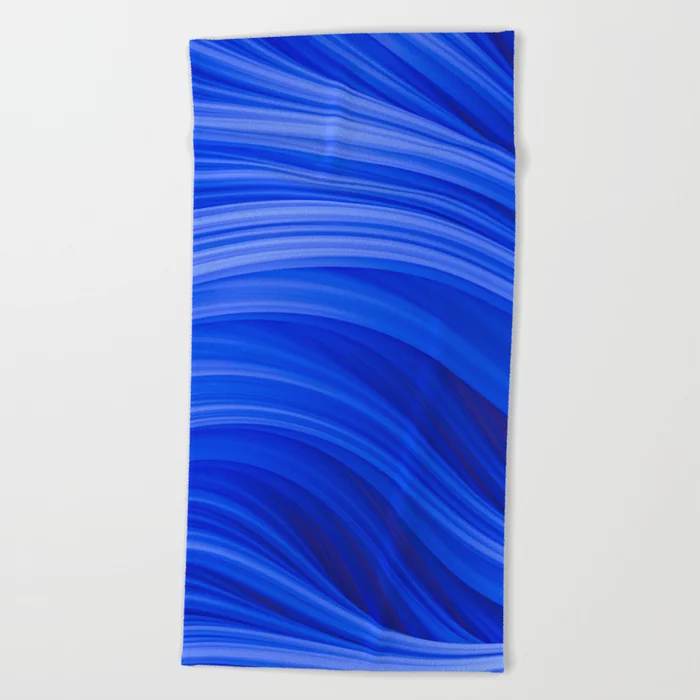 Flow Strand. Endless Blue. Abstract Art Beach Towel by Love-fi, Stephen Geisel