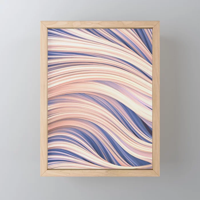 Flow Strand.White and Blue. Abstract Strands Framed Mini Art Print by Love-fi, Stephen Geisel
