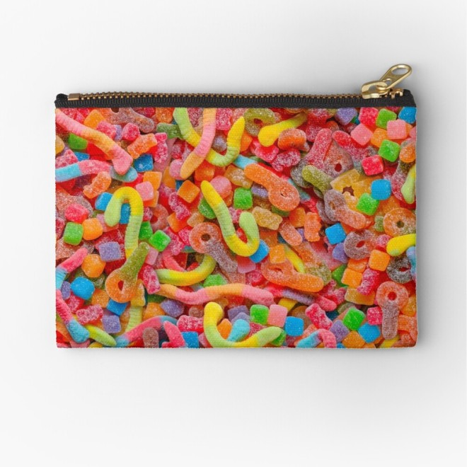 Party Mix Neon Sour Gummies Real Candy Pattern Zipper Pouch by Patterns Soup
