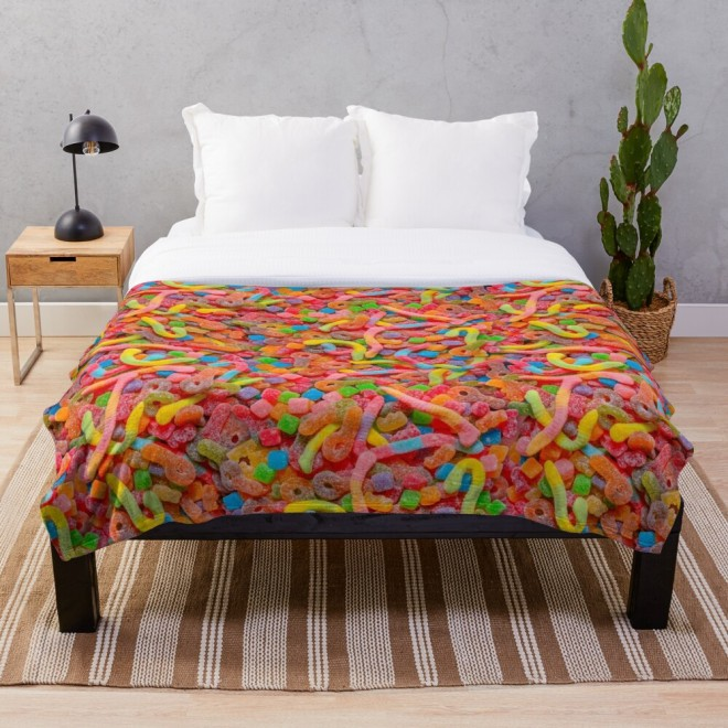 Party Mix Neon Sour Gummies Real Candy Pattern Throw Blanket by Patterns Soup