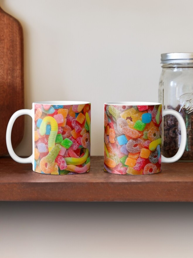 Party Mix Neon Sour Gummies Real Candy Pattern Mugs by Patterns Soup