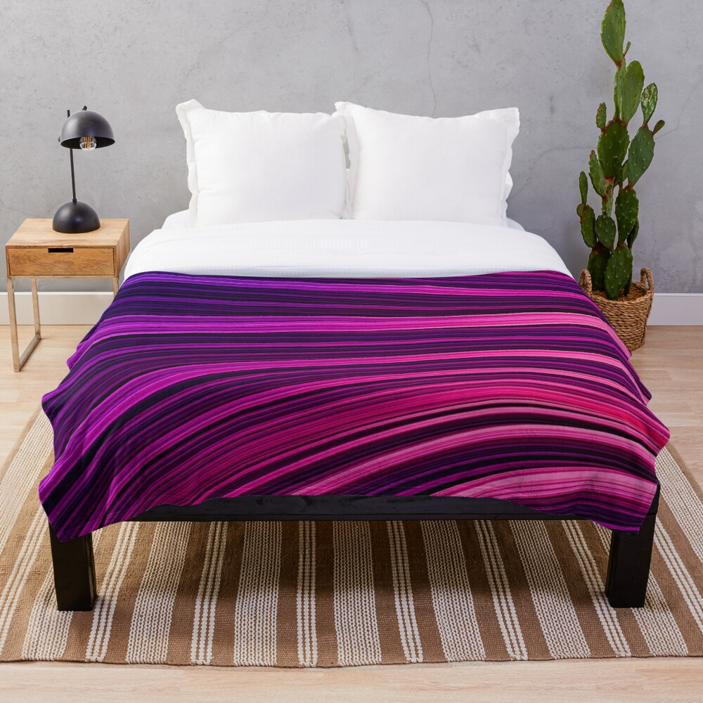 Pink + Purp Burst Wave. Abstract Strands Throw Blanket by Love-fi, Stephen Geisel