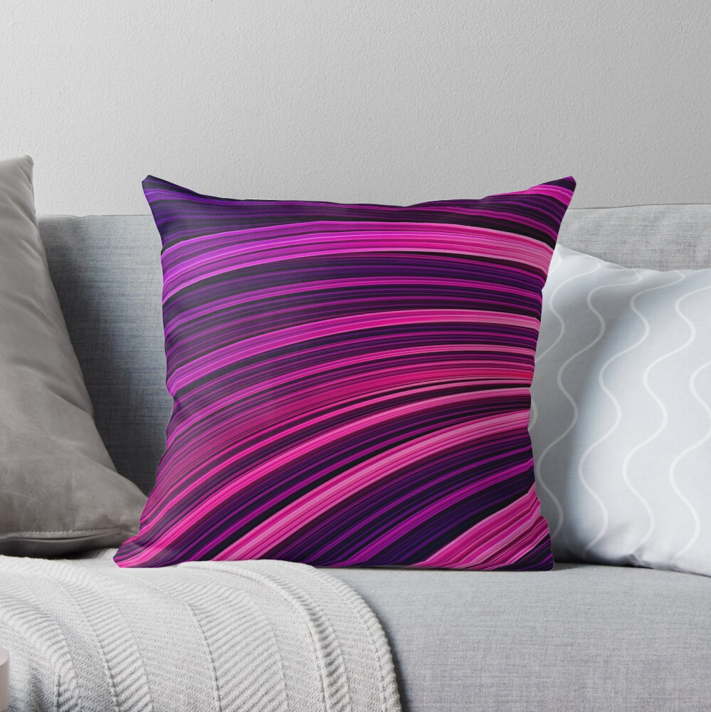 Pink + Purp Burst Wave. Abstract Strands Throw Pillow by Love-fi, Stephen Geisel