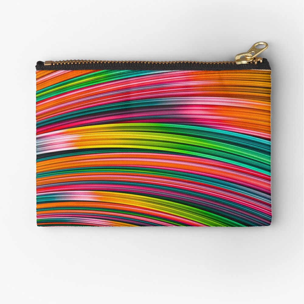 Neon Burst Wave. Abstract Strands Zipper Pouch By Love-fi, Stephen Geisel
