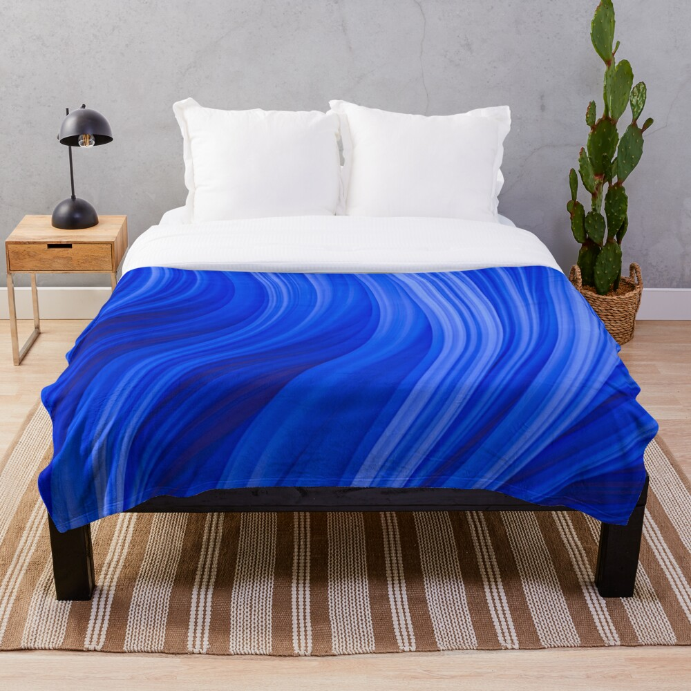 Flow Strand. Endless Blue Abstract Strands. Throw Blanket By Love-fi, Stephen Geisel