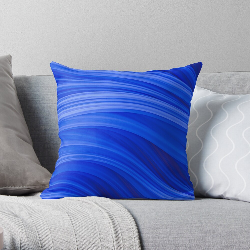 Flow Strand. Endless Blue Abstract Strands. Throw Pillow By Love-fi, Stephen Geisel