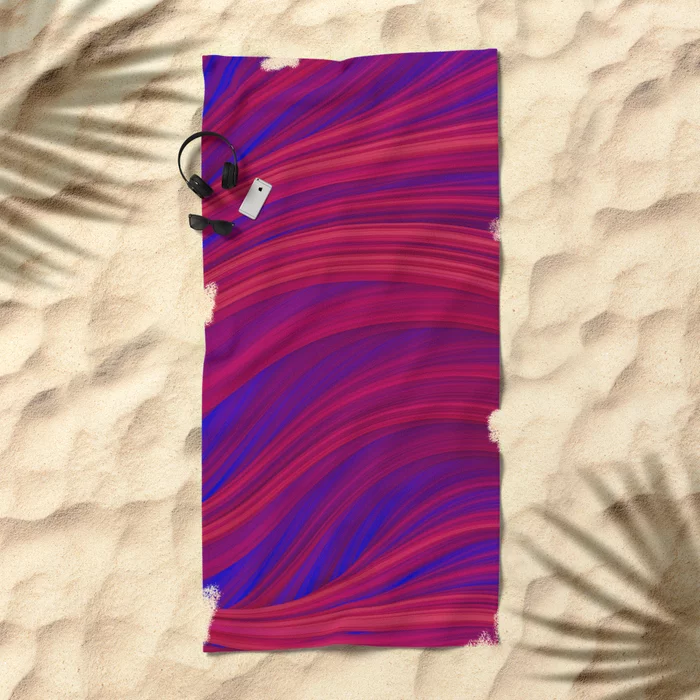 Rouge and Blue Flowing Strands Beach Towel by lovefi