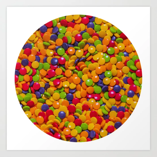 Sour Candy Buttons. Real Candy Pattern Art Print by PatternsSoup