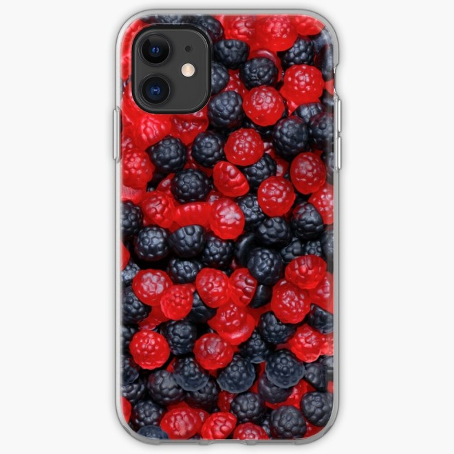 Gummy Raspberries and Blackberries Real Candy Pattern Iphone Case by Patterns Soup