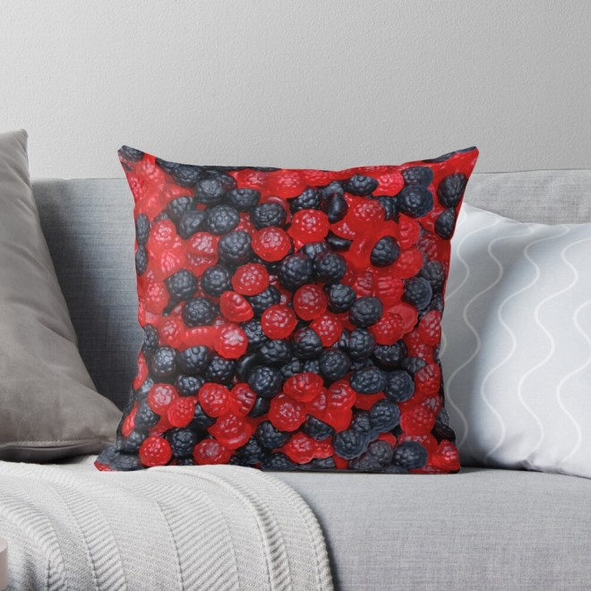 Gummy Raspberries and Blackberries Real Candy Pattern Throw Pillow by Patterns Soup