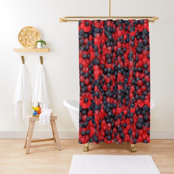 Gummy Raspberries and Blackberries Real Candy Pattern Shower Curtain by Patterns Soup