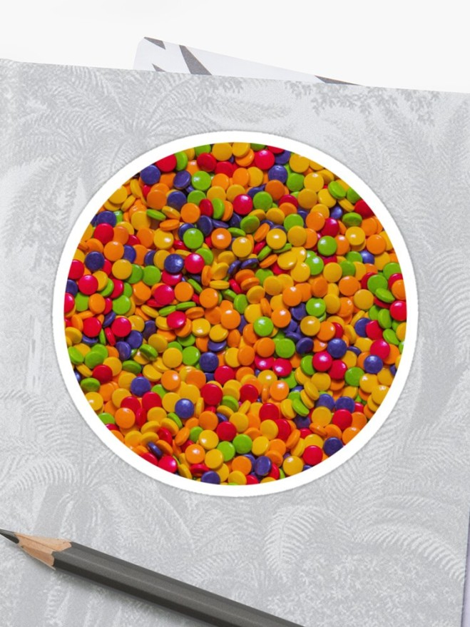 Sour Candy Buttons. Real Candy Pattern Sticker by Patterns Soup