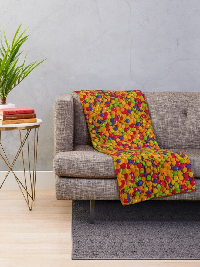 Sour Candy Buttons. Real Candy Pattern Throw Blanket by Patterns Soup