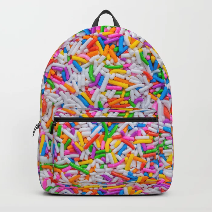 Dessert Rainbow Sprinkles Pattern Backpack by Patterns Soup