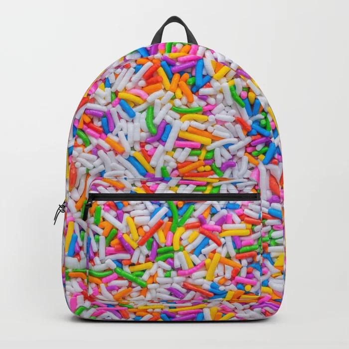 Dessert Rainbow Sprinkles Pattern Backpack by Patterns Soup