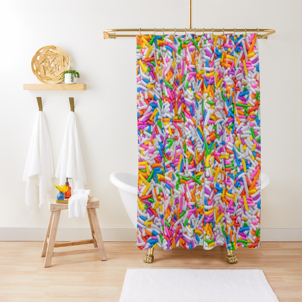 Dessert Rainbow Sprinkles Pattern Shower Curtain by Patterns Soup