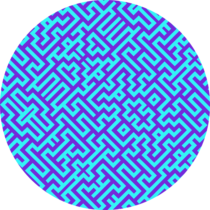 Magic Maze Cyan and Purple Pattern By Stephen Geisel, Patterns Soup
